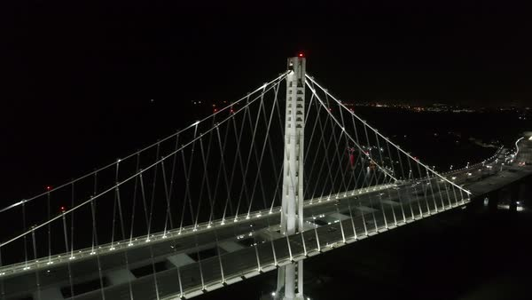 Aerial shot of San Francisco-Oakland Bay Bridge at night Royalty-free stock video