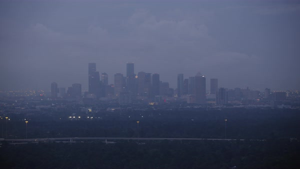 Aerial shot of modern Houston cityscape at dawn, Texas, United States of America Rights-managed stock video