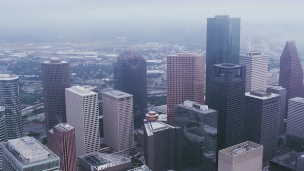 Aerial shot of Houston downtown and skyline, Texas, United States of America Rights-managed stock video