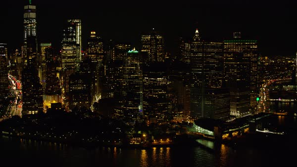Aerial shot of skyscrapers in New York at night Rights-managed stock video
