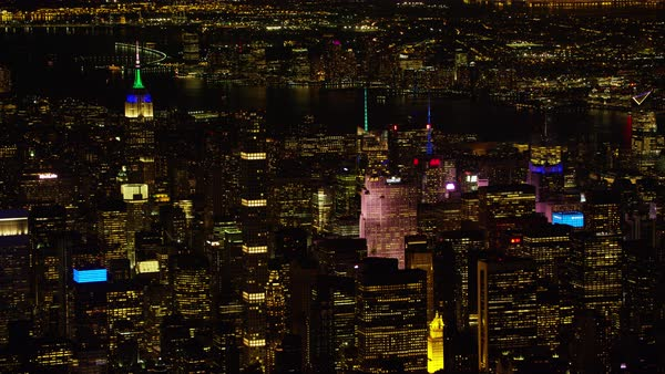Aerial shot of Manhattan cityscape with 432 Park (tallest building in New York City) in the foreground Rights-managed stock video