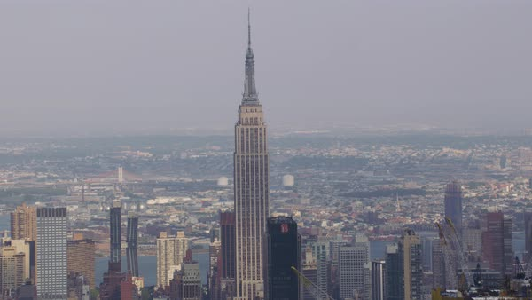 Aerial shot of Empire State Building in Manhattan Rights-managed stock video