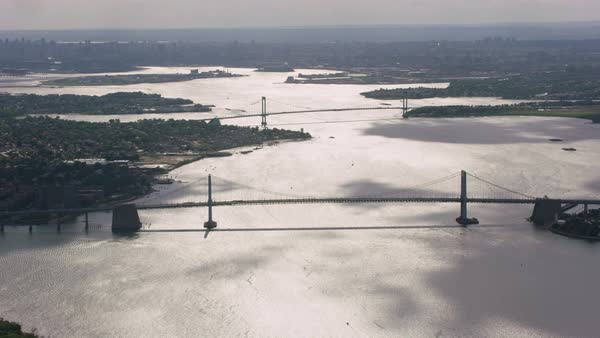 Aerial shot of bridges over East River Rights-managed stock video
