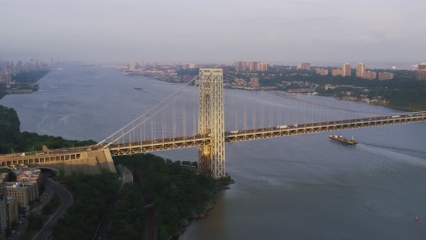 Aerial shot of George Washington Bridge over Hudson River Rights-managed stock video