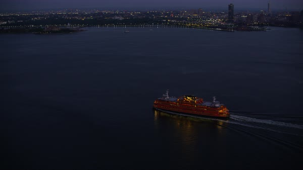 Tracking shot of a ferry boat crossing Upper New York Bay Rights-managed stock video