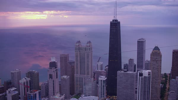 Aerial shot of downtown Chicago with John Hancock Center Rights-managed stock video