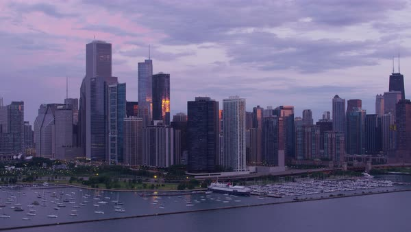 Aerial shot of skyline of downtown Chicago Rights-managed stock video