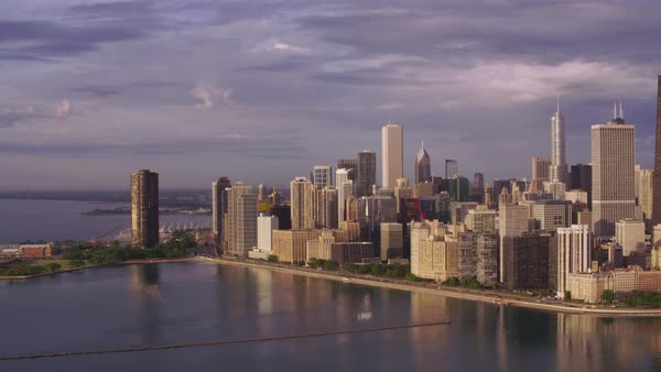 Aerial shot of downtown Chicago cityscape Rights-managed stock video