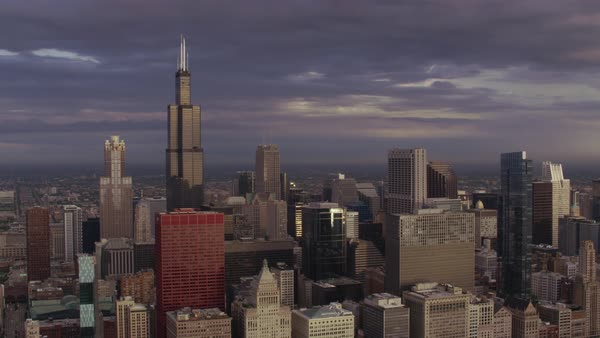 Aerial shot of downtown Chicago  Rights-managed stock video