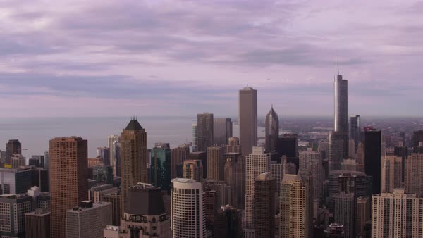 Aerial shot of skyscrapers in downtown Chicago Rights-managed stock video