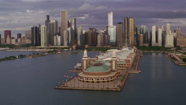 Aerial shot of downtown Chicago, flying over Navy Pier Rights-managed stock video