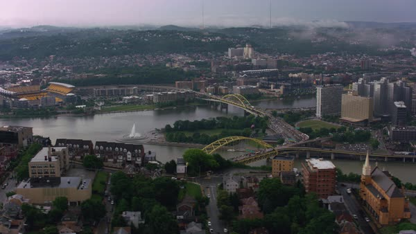Aerial shot of the Ohio River and the downtown point of Pittsburgh, where the Ohio splits into the Allegheny and Monongahela Rivers Rights-managed stock video
