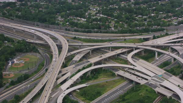 Push-out aerial shot of the Springfield Interchange near Springfield, Virginia Rights-managed stock video
