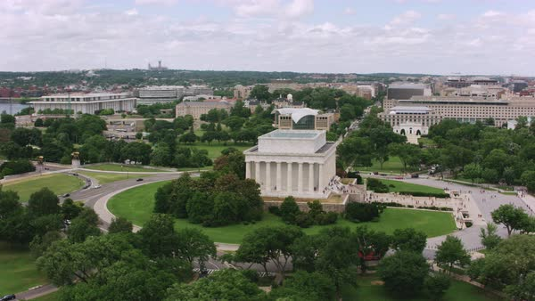 Aerial shot of the Lincoln Memorial in Washington DC Rights-managed stock video