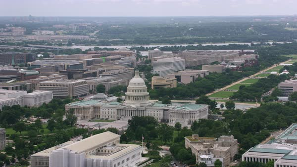 Aerial shot of the Capitol Buillding, National Mall and Washington Monument Rights-managed stock video