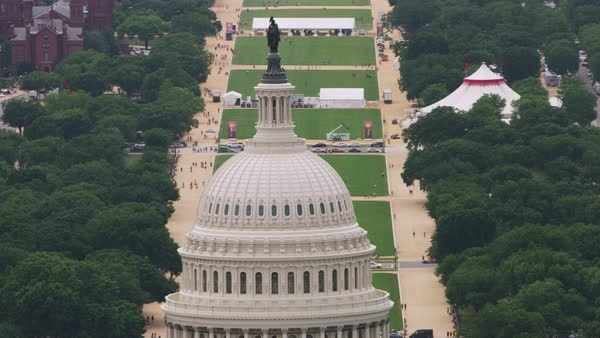 Zooming out shot of the dome of the United States Capitol Building Rights-managed stock video