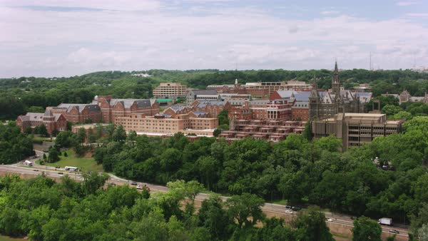 Aerial shot of campus of Georgetown University Rights-managed stock video