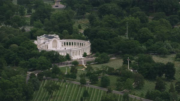 Aerial shot of Memorial Amphitheater in Arlington National Cemetery Rights-managed stock video