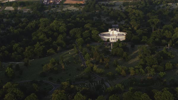 Aerial shot of Arlington National Cemetery with Memorial Amphitheater Rights-managed stock video