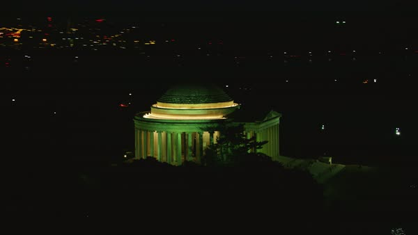 Aerial shot of Jefferson Memorial at night Rights-managed stock video