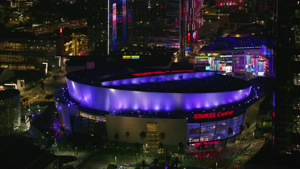 Aerial shot of Staples Center in Los Angeles Rights-managed stock video