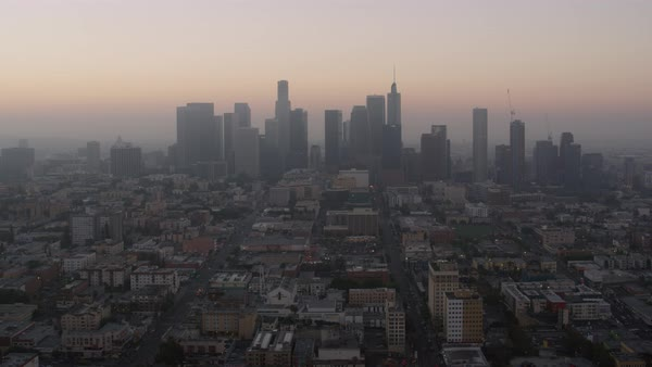 Aerial shot of skyline of downtown Los Angeles Rights-managed stock video