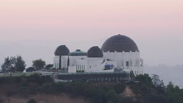 Aerial shot of Griffith Observatory in Los Angeles Rights-managed stock video