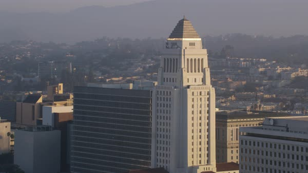 Aerial shot of Los Angeles City Hall Rights-managed stock video