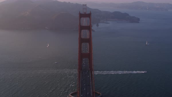 Aerial shot of traffic on Golden Gate Bridge Rights-managed stock video