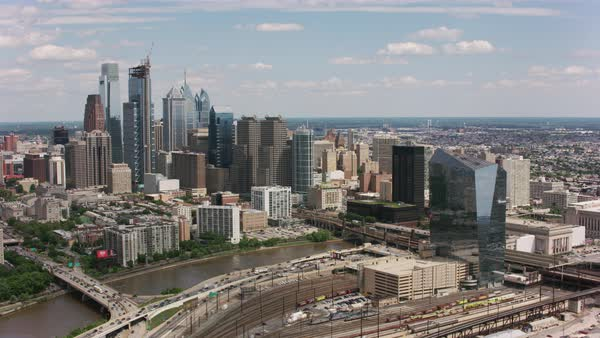 Aerial shot of downtown Philadelphia with Schuylkill River Rights-managed stock video