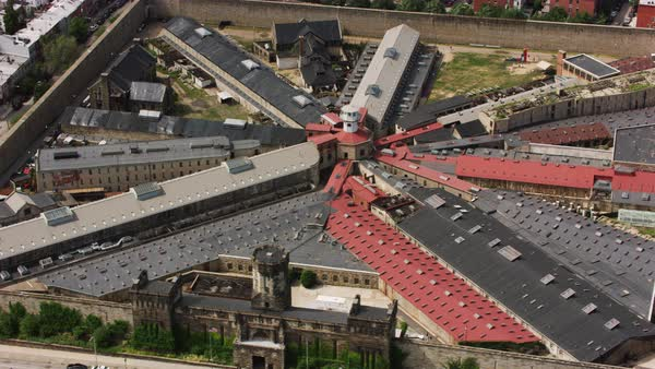 Aerial shot of Eastern State Penitentiary in Philadelphia Rights-managed stock video