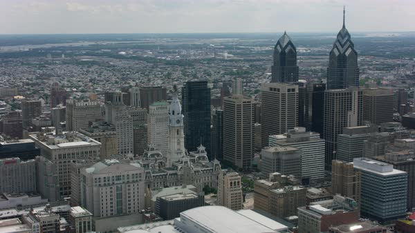 Push-out shot of downtown Philadelphia Rights-managed stock video