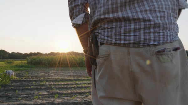 Hand-held shot of a farmer standing on a field Royalty-free stock video