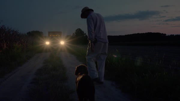 Slow motion shot of a man walking to a pickup truck with his dog Royalty-free stock video