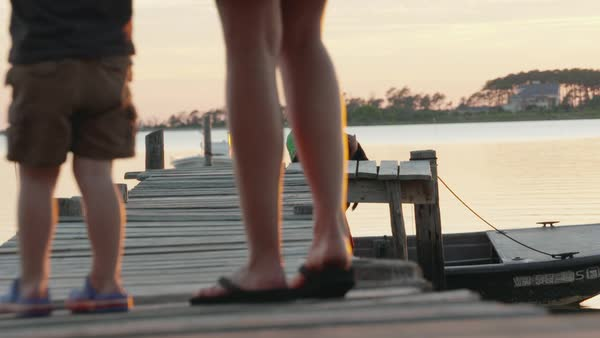 Slow motion shot of a man lifting a dog from a boat onto a pier Royalty-free stock video