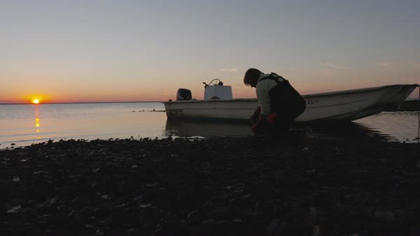 Hand-held shot of a fisherman collecting oysters on a shore Royalty-free stock video