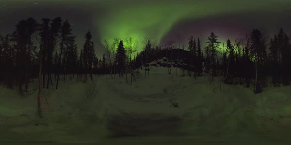 360 timelapse of Aurora Borealis over Yellowknife, Northwest Territories, Canada. Rights-managed stock video