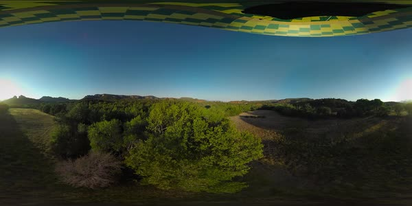 360 video from hot air balloon ride over Grand Canyon. Rights-managed stock video