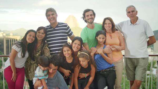 Family posing for a portrait at a Brazilian family BBQ Royalty-free stock video