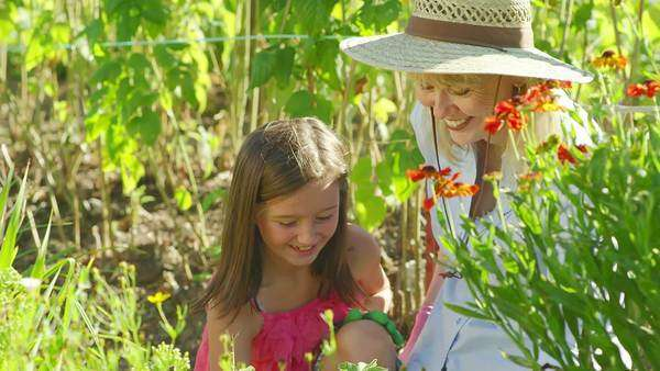 A cute little girl sits smiling while her grandma shows her how to pant flowers Royalty-free stock video