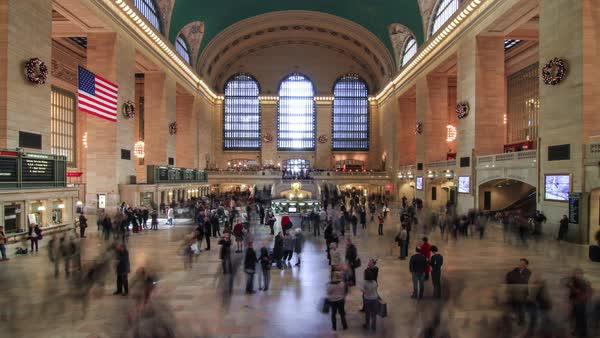 Static shot of people moving at the Grand Central Station, New York City, New York State, United States of America Royalty-free stock video