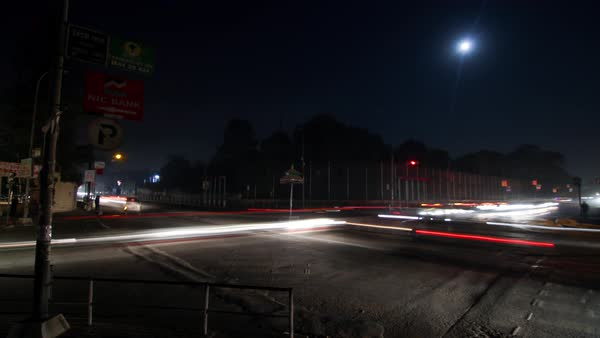 Timelapse of a road intersection at night, Kathmandu, Nepal Royalty-free stock video