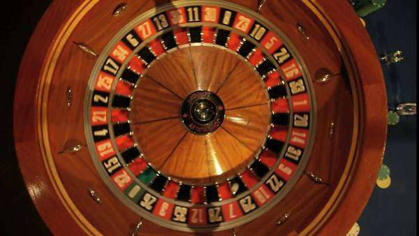 Birdseye Medium close-up of of Roulette Wheel Spinning Royalty-free stock video