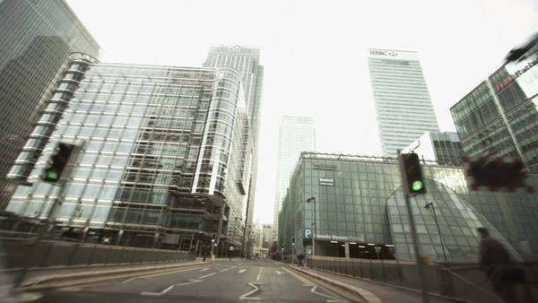 POV low angle view on traffic in Canary Wharf London from car window Royalty-free stock video