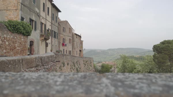 View of Tuscan hills and village landscape Royalty-free stock video