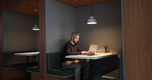 Businessman working late at night in office alone Royalty-free stock video