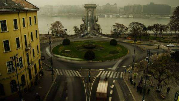 Timelapse of roundabout by the Chain Bridge in Budapest, Hungary. Royalty-free stock video
