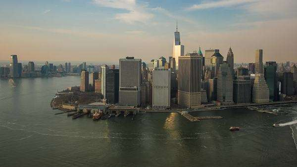Aerial view towards lower Manhattan and New Jersey, in New York. Royalty-free stock video