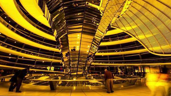 Inside the roof viewing center on the top of the German Parlament – Deautche Bundestag. Royalty-free stock video