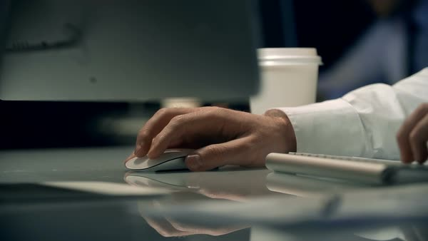 Close-up of male hands typing something on the computer in the office Royalty-free stock video